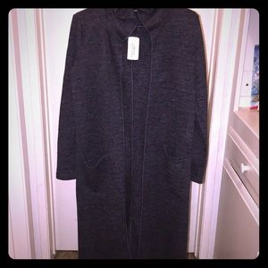 NWT Forever21 dark grey long hooded sweater